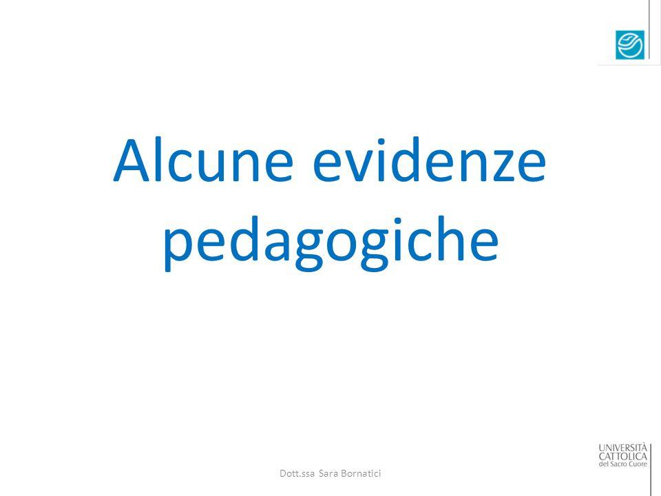 Alcune evidenze pedagogiche Dott.ssa Sara Bornatici