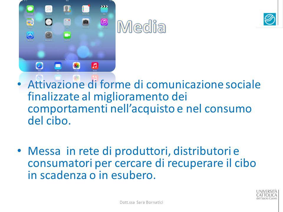 Attivazione di forme di comunicazione sociale finalizzate al miglioramento dei comportamenti nell'acquisto e nel consumo del cibo.