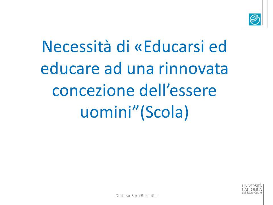 Necessità di «Educarsi ed educare ad una rinnovata concezione dell'essere uomini (Scola) Dott.ssa Sara Bornatici