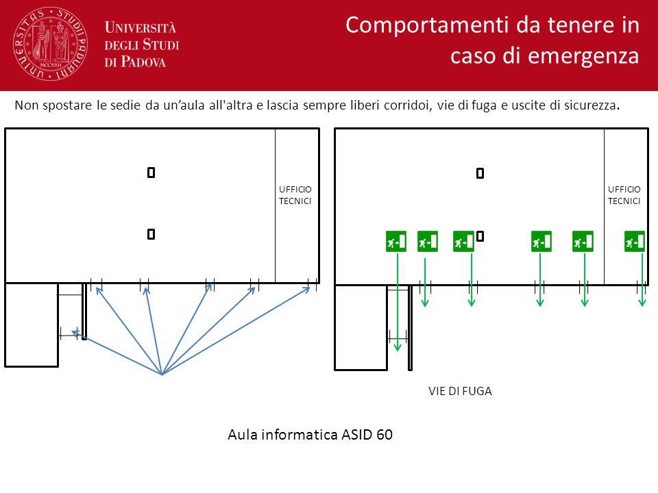 VIE DI FUGA Comportamenti da tenere in caso di emergenza Aula informatica ASID 60 AULA INFORMATICA ASID 60 UFFICIO TECNICI Non spostare le sedie da un
