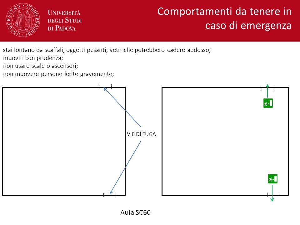 Aula SC30 VIE DI FUGA Comportamenti da tenere in caso di emergenza segui le vie di fuga e raggiungi il punto di raccolta più vicino, come indicato nella mappa; non rientrare se non autorizzato;