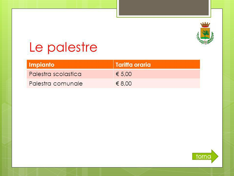 Le palestre ImpiantoTariffa oraria Palestra scolastica€ 5,00 Palestra comunale€ 8,00 torna