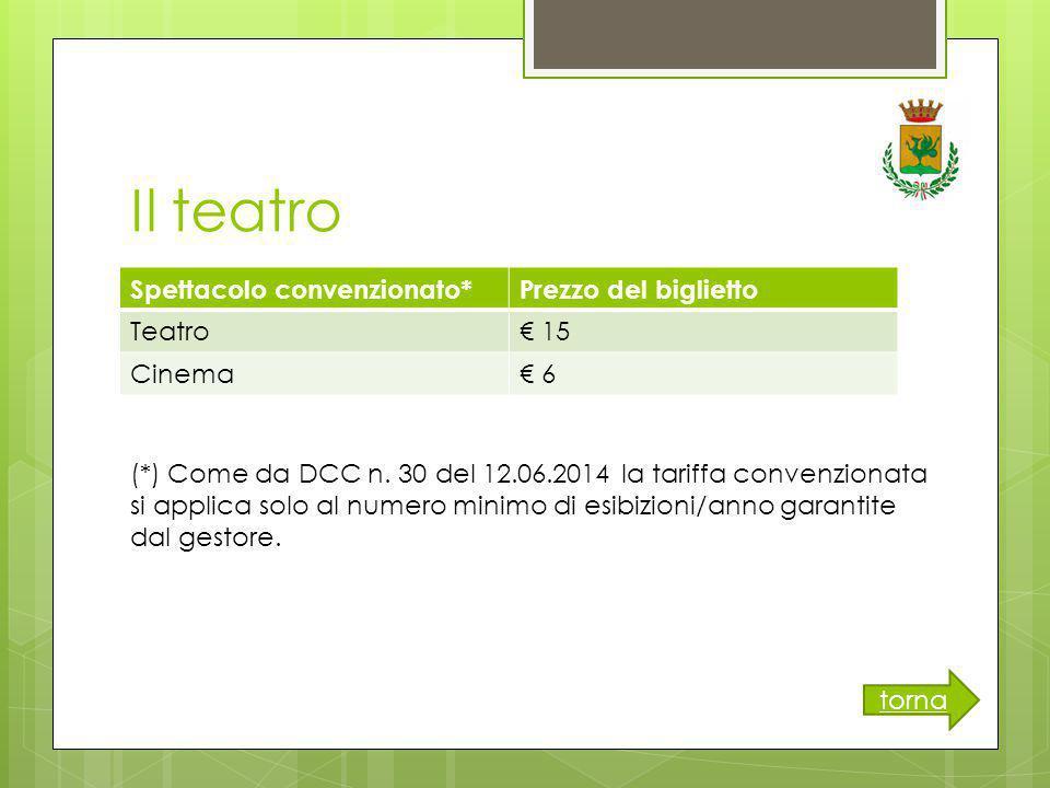 Il teatro Spettacolo convenzionato*Prezzo del biglietto Teatro€ 15 Cinema€ 6 torna (*) Come da DCC n.