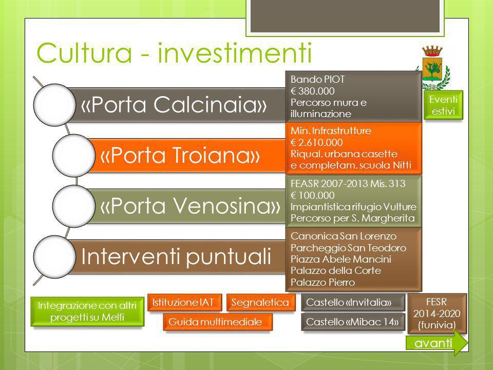 Cultura - investimenti «Porta Calcinaia» «Porta Troiana» «Porta Venosina» Interventi puntuali Bando PIOT € 380.000 Percorso mura e illuminazione Min.