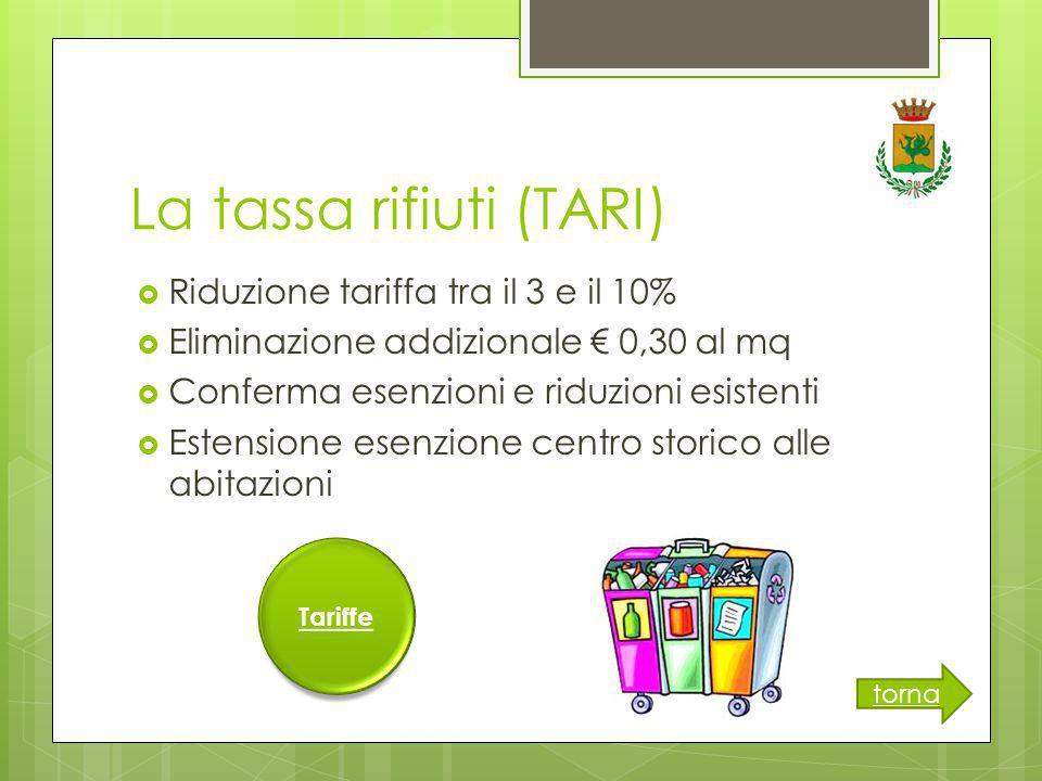 La tassa rifiuti (TARI)  Riduzione tariffa tra il 3 e il 10%  Eliminazione addizionale € 0,30 al mq  Conferma esenzioni e riduzioni esistenti  Estensione esenzione centro storico alle abitazioni torna Tariffe