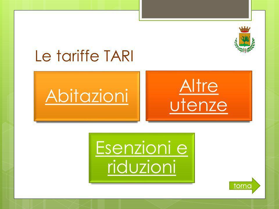 Le tariffe TARI Abitazioni Altre utenze Esenzioni e riduzioni torna
