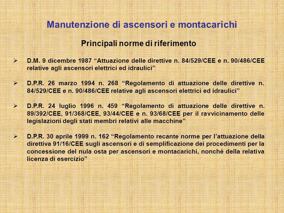 """Principali norme di riferimento  D.M. 9 dicembre 1987 """"Attuazione delle direttive n. 84/529/CEE e n. 90/486/CEE relative agli ascensori elettrici ed"""