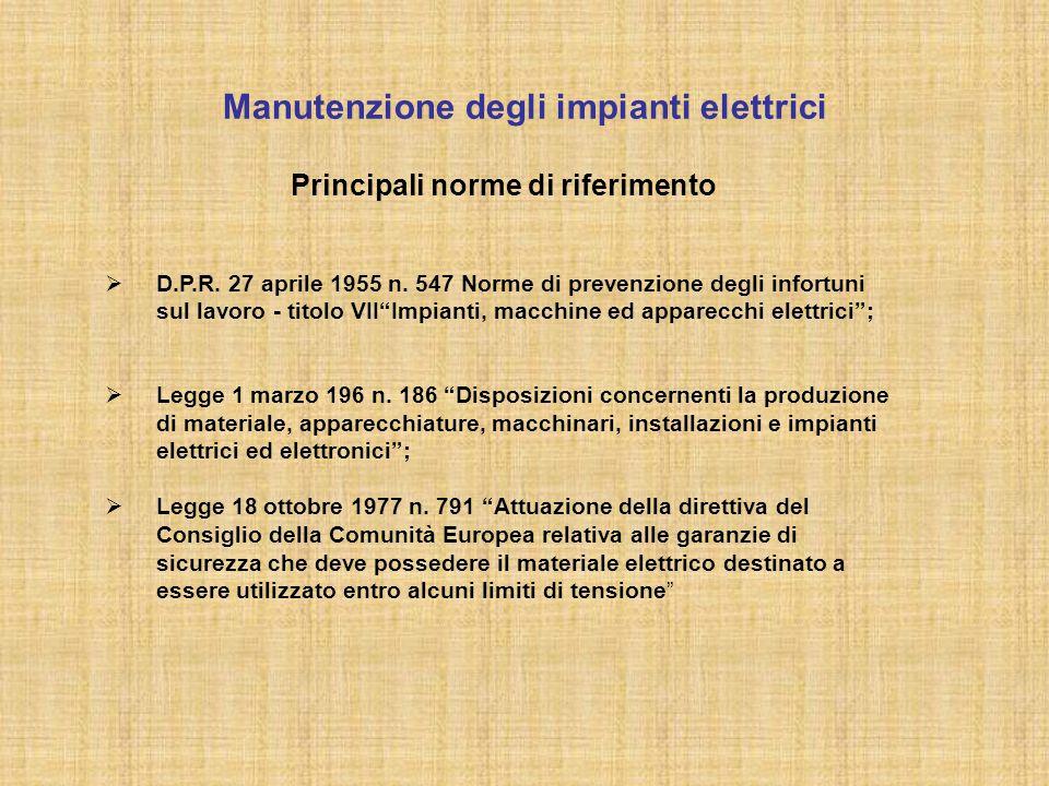 Manutenzione degli impianti elettrici Principali norme di riferimento  D.P.R. 27 aprile 1955 n. 547 Norme di prevenzione degli infortuni sul lavoro -