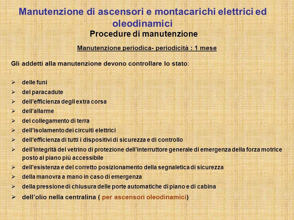 Manutenzione periodica- periodicità : 1 mese Gli addetti alla manutenzione devono controllare lo stato:  delle funi  del paracadute  dell'efficienz