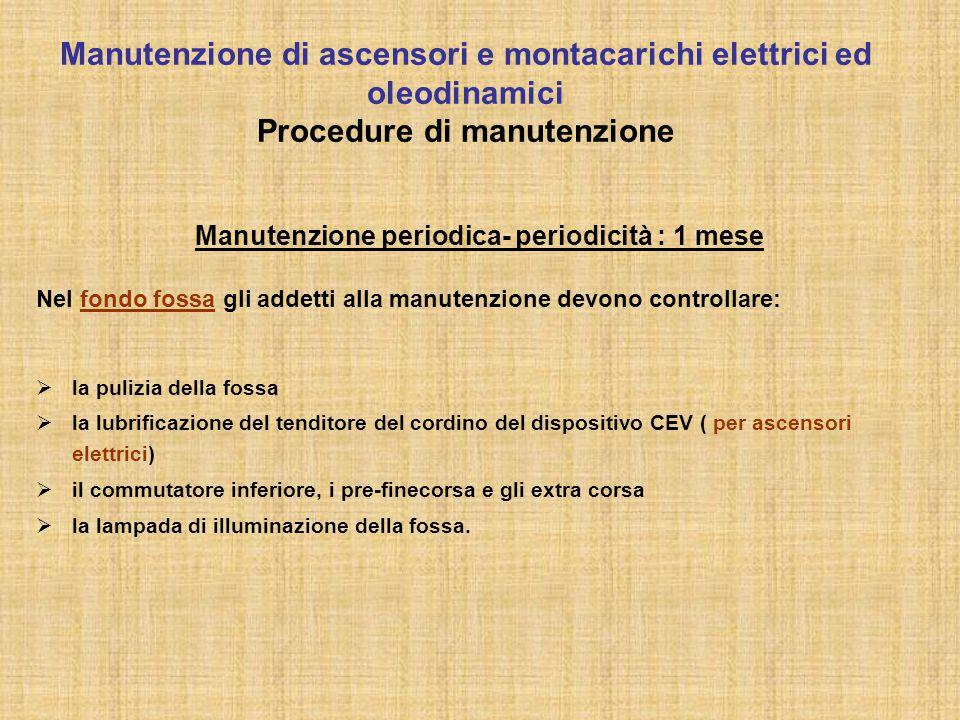 Manutenzione periodica- periodicità : 1 mese Nel fondo fossa gli addetti alla manutenzione devono controllare:  la pulizia della fossa  la lubrifica
