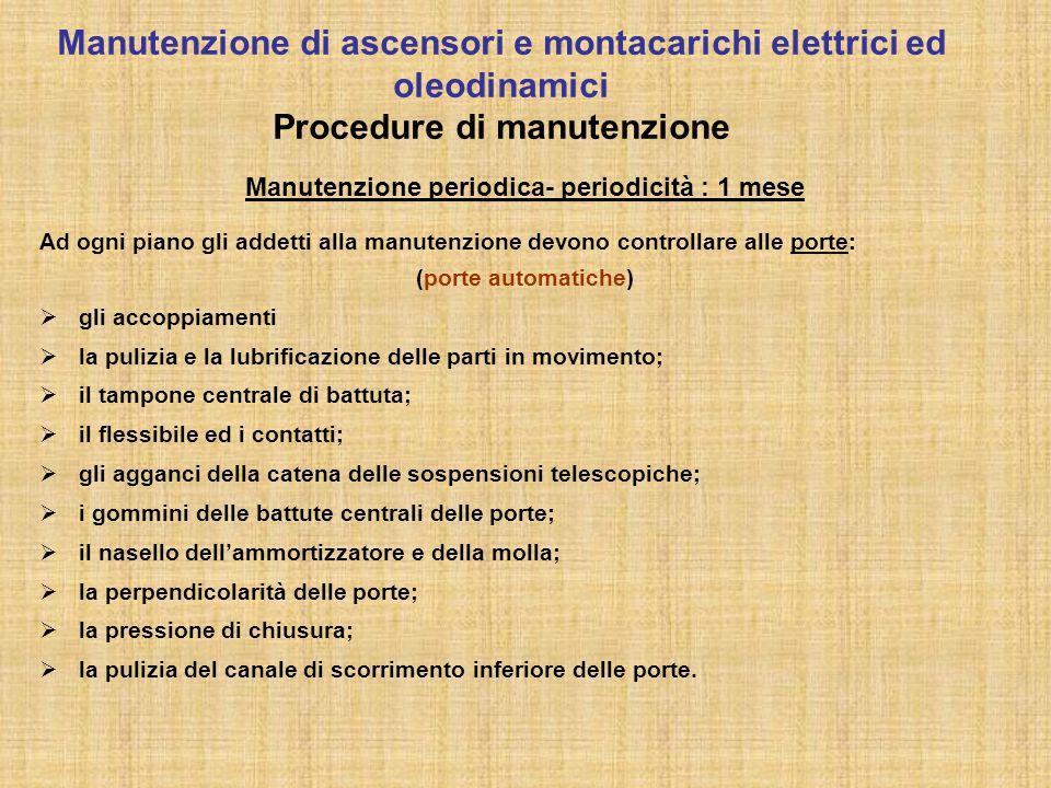 Manutenzione periodica- periodicità : 1 mese Ad ogni piano gli addetti alla manutenzione devono controllare alle porte: (porte automatiche)  gli acco
