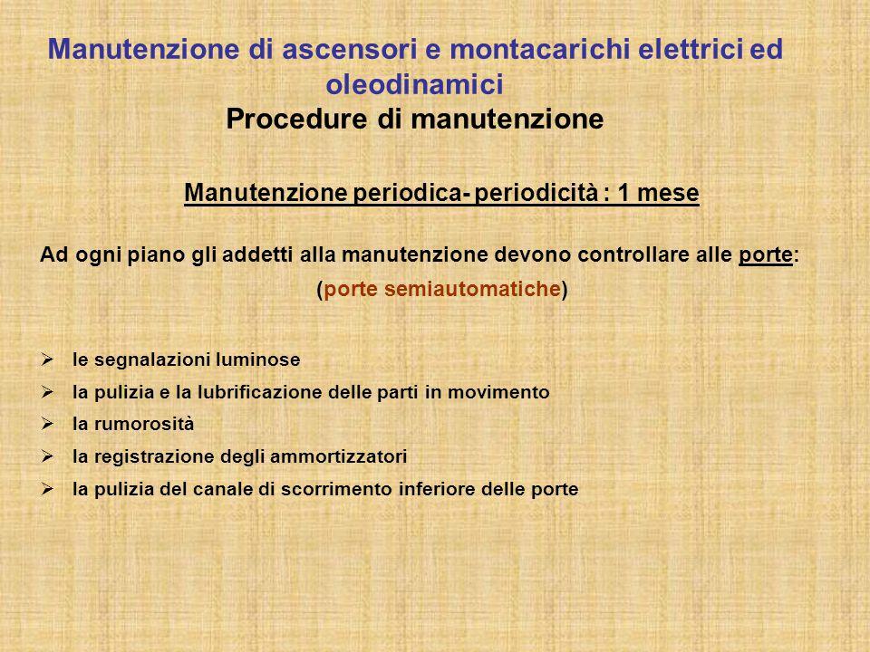 Manutenzione periodica- periodicità : 1 mese Ad ogni piano gli addetti alla manutenzione devono controllare alle porte: (porte semiautomatiche)  le s