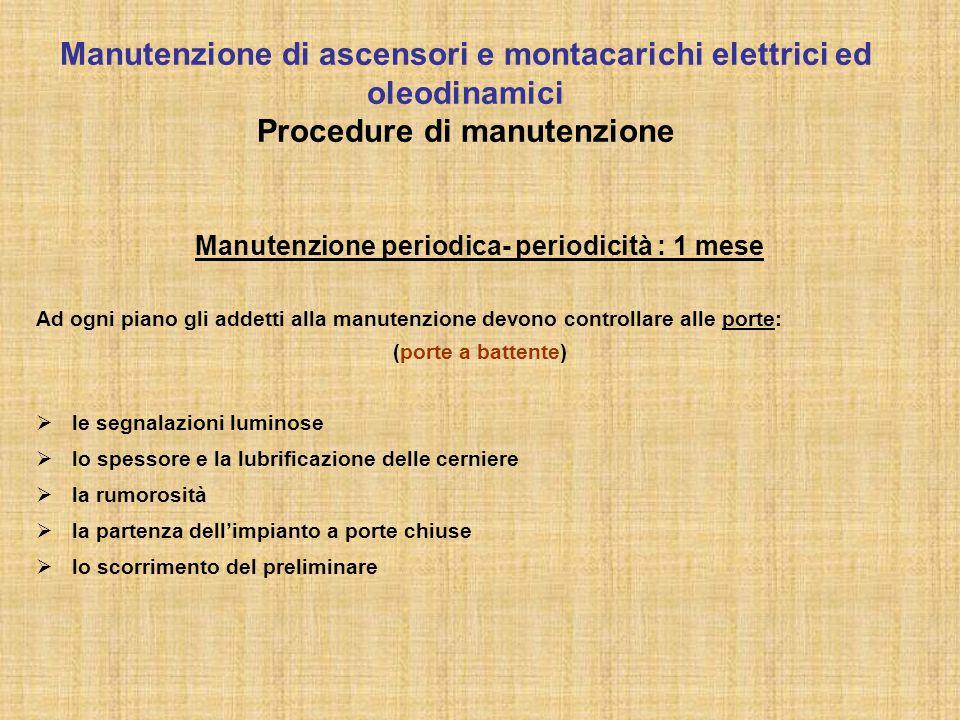 Manutenzione periodica- periodicità : 1 mese Ad ogni piano gli addetti alla manutenzione devono controllare alle porte: (porte a battente)  le segnal