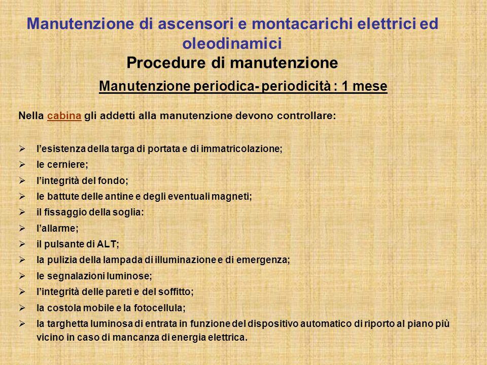 Manutenzione periodica- periodicità : 1 mese Nella cabina gli addetti alla manutenzione devono controllare:  l'esistenza della targa di portata e di