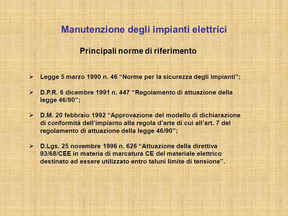 """Principali norme di riferimento  Legge 5 marzo 1990 n. 46 """"Norme per la sicurezza degli impianti"""";  D.P.R. 6 dicembre 1991 n. 447 """"Regolamento di at"""