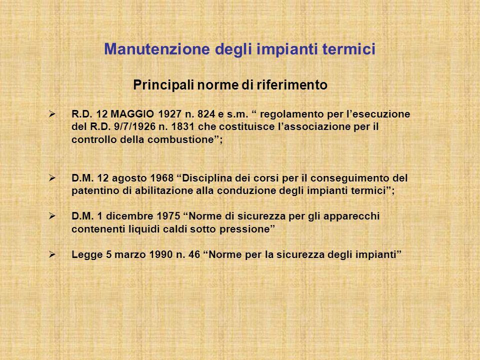 """Manutenzione degli impianti termici Principali norme di riferimento  R.D. 12 MAGGIO 1927 n. 824 e s.m. """" regolamento per l'esecuzione del R.D. 9/7/19"""