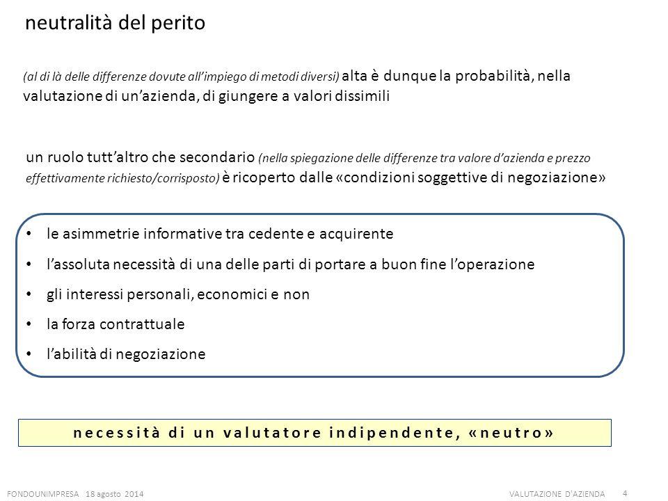 FONDOUNIMPRESA 18 agosto 2014VALUTAZIONE D'AZIENDA 4 neutralità del perito necessità di un valutatore indipendente, «neutro» (al di là delle differenz