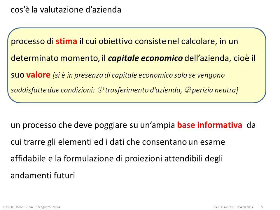 FONDOUNIMPRESA 18 agosto 2014VALUTAZIONE D'AZIENDA 5 cos'è la valutazione d'azienda processo di stima il cui obiettivo consiste nel calcolare, in un d