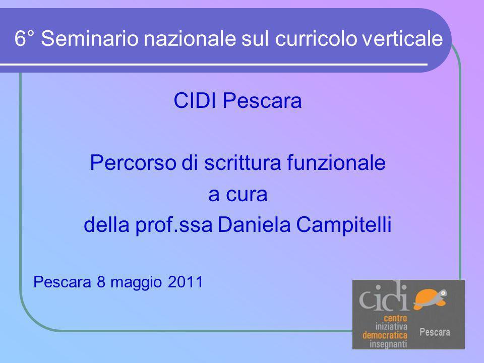 6° Seminario nazionale sul curricolo verticale CIDI Pescara Percorso di scrittura funzionale a cura della prof.ssa Daniela Campitelli Pescara 8 maggio