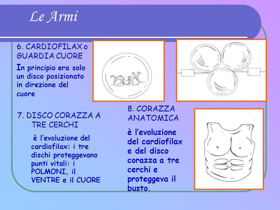 Le Armi 8. CORAZZA ANATOMICA è l'evoluzione del cardiofilax e del disco corazza a tre cerchi e proteggeva il busto. 7. DISCO CORAZZA A TRE CERCHI è l'