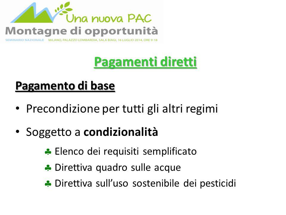 Pagamenti diretti Pagamento di base Precondizione per tutti gli altri regimi Soggetto a condizionalità  Elenco dei requisiti semplificato  Direttiva