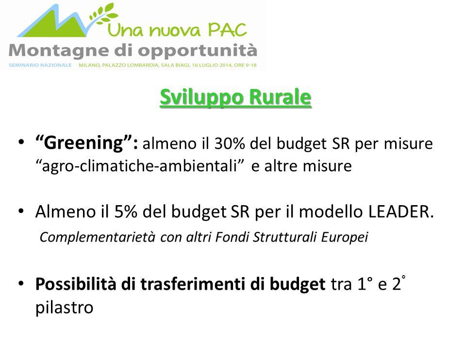 Sviluppo Rurale Greening : almeno il 30% del budget SR per misure agro-climatiche-ambientali e altre misure Almeno il 5% del budget SR per il modello LEADER.