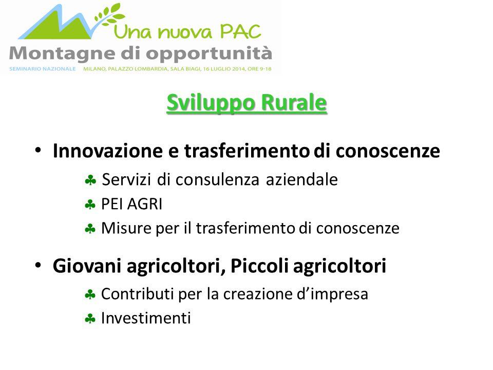 Sviluppo Rurale Innovazione e trasferimento di conoscenze  Servizi di consulenza aziendale  PEI AGRI  Misure per il trasferimento di conoscenze Giovani agricoltori, Piccoli agricoltori  Contributi per la creazione d'impresa  Investimenti