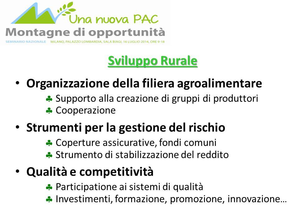 Sviluppo Rurale Organizzazione della filiera agroalimentare  Supporto alla creazione di gruppi di produttori  Cooperazione Strumenti per la gestione