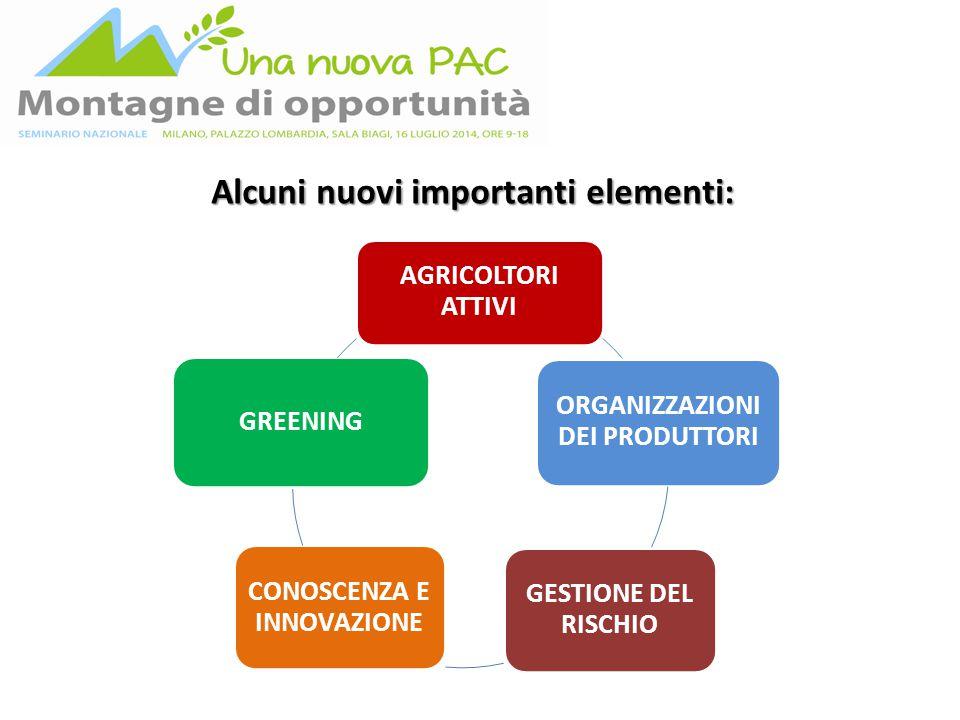 AGRICOLTORI ATTIVI ORGANIZZAZIONI DEI PRODUTTORI GESTIONE DEL RISCHIO CONOSCENZA E INNOVAZIONE GREENING Alcuni nuovi importanti elementi: