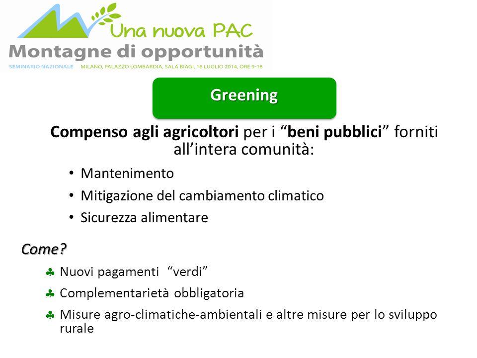 Greening Compenso agli agricoltori per i beni pubblici forniti all'intera comunità: Mantenimento Mitigazione del cambiamento climatico Sicurezza alimentareCome.