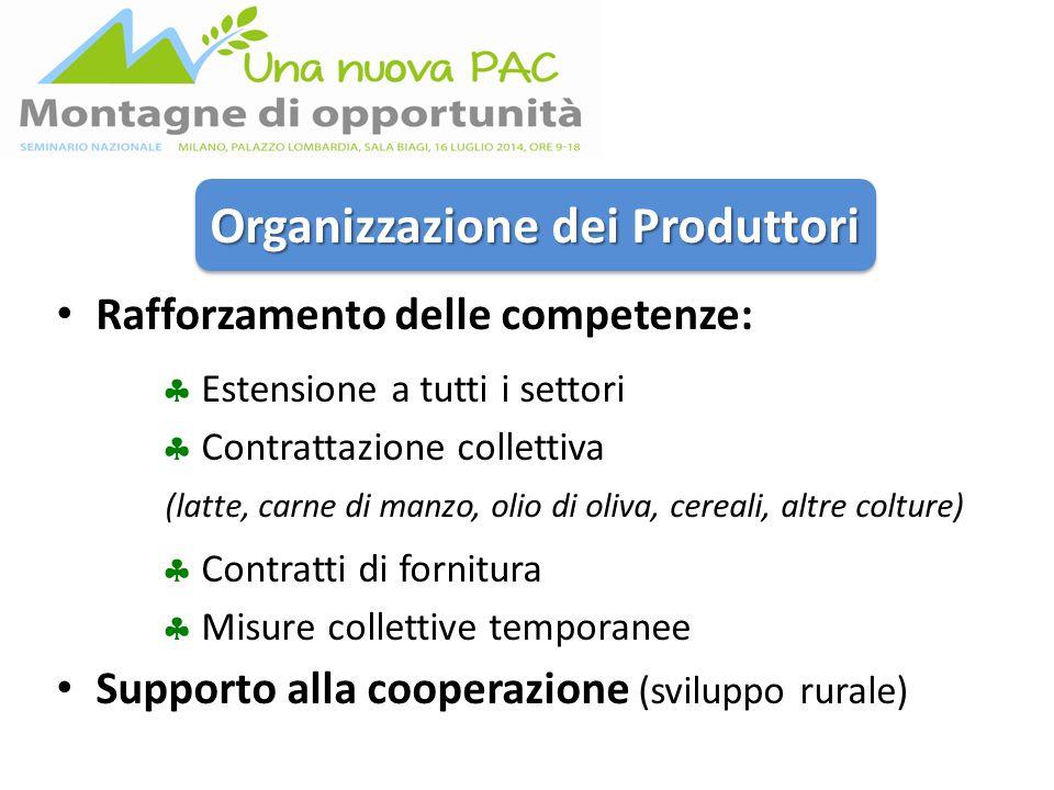 Organizzazione dei Produttori Rafforzamento delle competenze:  Estensione a tutti i settori  Contrattazione collettiva (latte, carne di manzo, olio di oliva, cereali, altre colture)  Contratti di fornitura  Misure collettive temporanee Supporto alla cooperazione (sviluppo rurale)