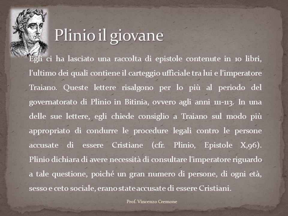 Egli ci ha lasciato una raccolta di epistole contenute in 10 libri, l'ultimo dei quali contiene il carteggio ufficiale tra lui e l'imperatore Traiano.