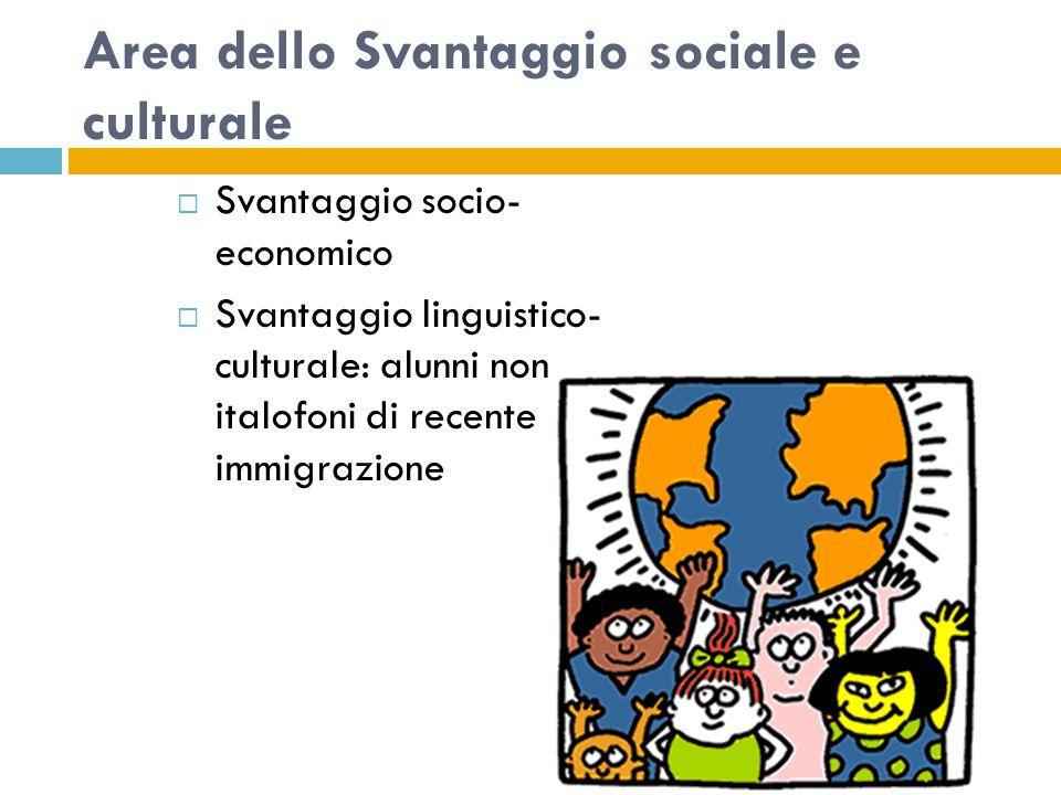 Area dello Svantaggio sociale e culturale  Svantaggio socio- economico  Svantaggio linguistico- culturale: alunni non italofoni di recente immigrazione