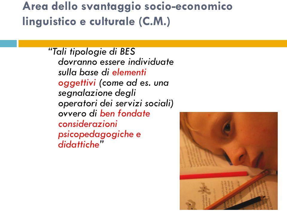 Area dello svantaggio socio-economico linguistico e culturale (C.M.) Tali tipologie di BES dovranno essere individuate sulla base di elementi oggettivi (come ad es.