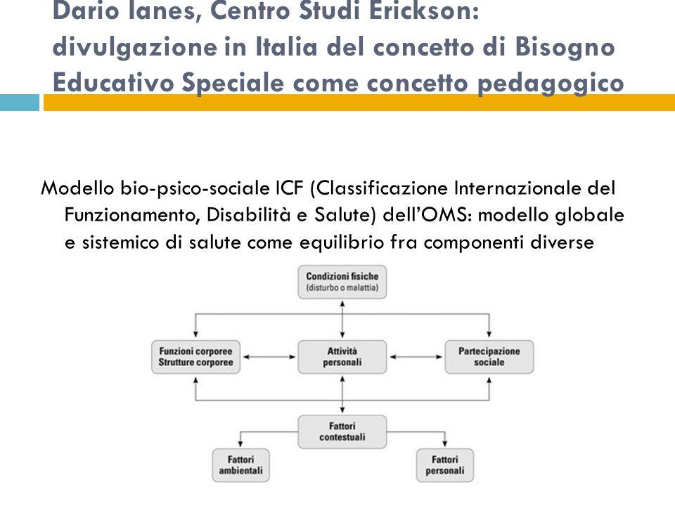 Dario Ianes, Centro Studi Erickson: divulgazione in Italia del concetto di Bisogno Educativo Speciale come concetto pedagogico Modello bio-psico-sociale ICF (Classificazione Internazionale del Funzionamento, Disabilità e Salute) dell'OMS: modello globale e sistemico di salute come equilibrio fra componenti diverse