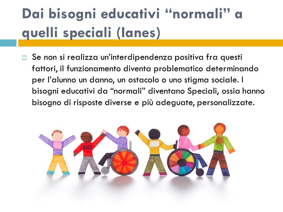 Dai bisogni educativi normali a quelli speciali (Ianes)  Se non si realizza un'interdipendenza positiva fra questi fattori, il funzionamento diventa problematico determinando per l'alunno un danno, un ostacolo o uno stigma sociale.