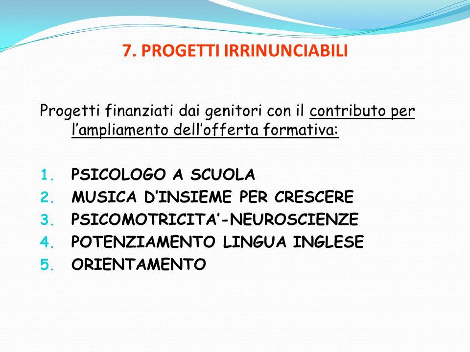7. PROGETTI IRRINUNCIABILI Progetti finanziati dai genitori con il contributo per l'ampliamento dell'offerta formativa: 1. PSICOLOGO A SCUOLA 2. MUSIC