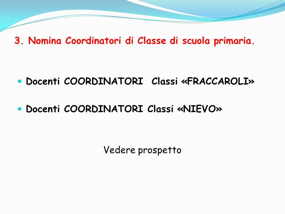 3. Nomina Coordinatori di Classe di scuola primaria. Docenti COORDINATORI Classi «FRACCAROLI» Docenti COORDINATORI Classi «NIEVO» Vedere prospetto