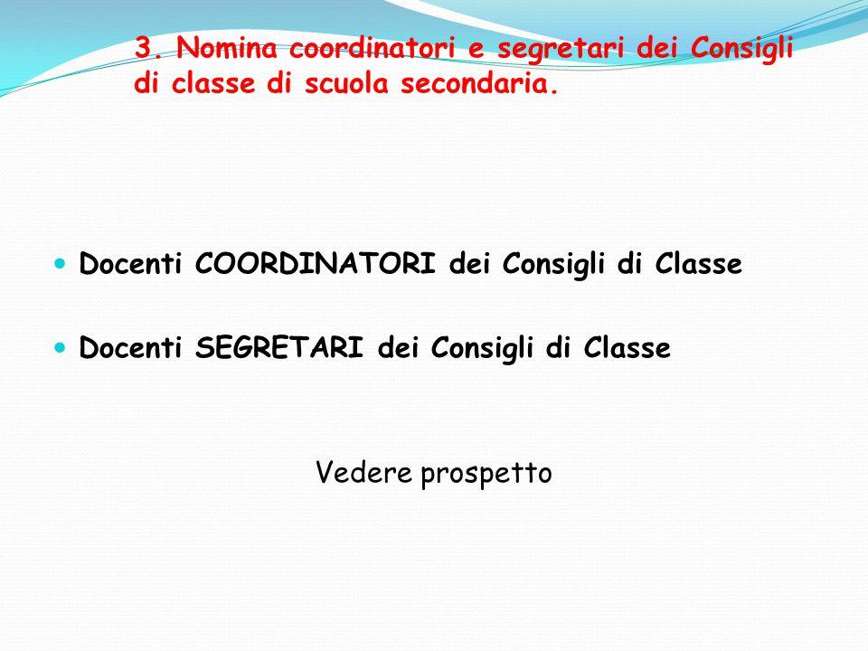 3. Nomina coordinatori e segretari dei Consigli di classe di scuola secondaria. Docenti COORDINATORI dei Consigli di Classe Docenti SEGRETARI dei Cons