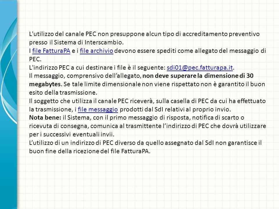 L'utilizzo del canale PEC non presuppone alcun tipo di accreditamento preventivo presso il Sistema di Interscambio. I file FatturaPA e i file archivio