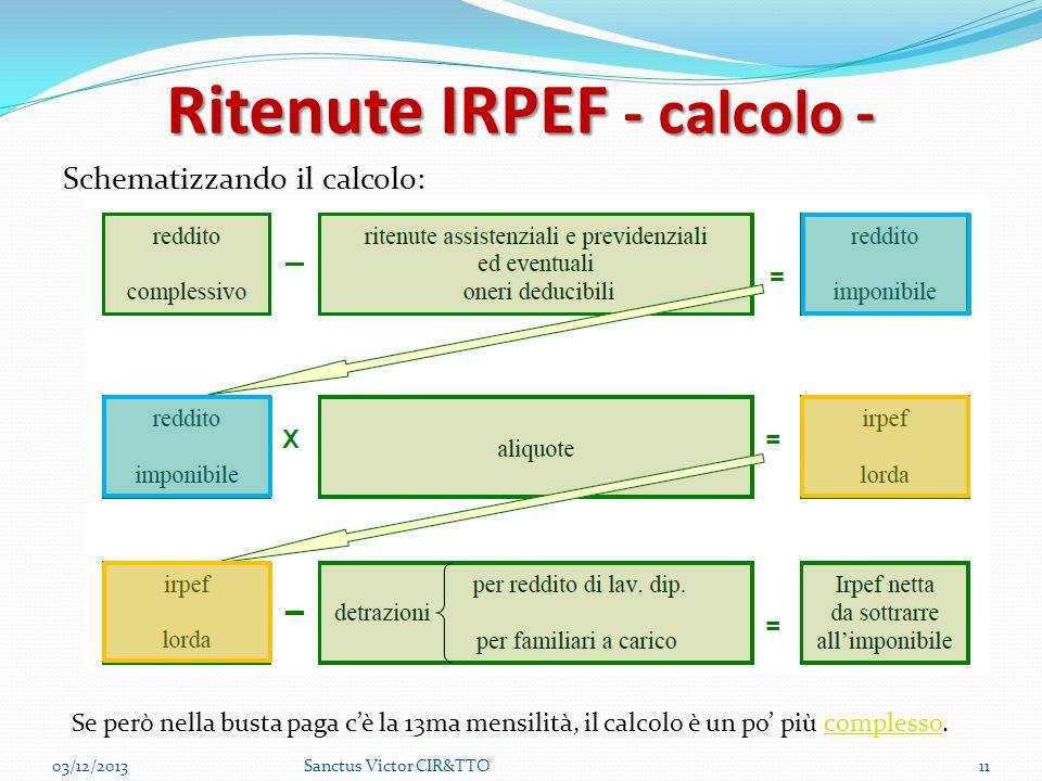 Ritenute IRPEF - calcolo - Schematizzando il calcolo: 03/12/201311Sanctus Victor CIR&TTO Se però nella busta paga c'è la 13ma mensilità, il calcolo è