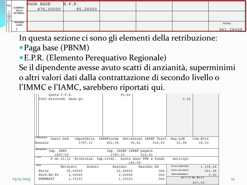 03/12/201312Sanctus Victor CIR&TTO Esempio di busta paga In questa sezione ci sono gli elementi della retribuzione: Paga base (PBNM) E.P.R. (Elemento