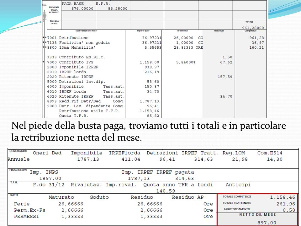 03/12/201314Sanctus Victor CIR&TTO Esempio di busta paga Nel piede della busta paga, troviamo tutti i totali e in particolare la retribuzione netta de