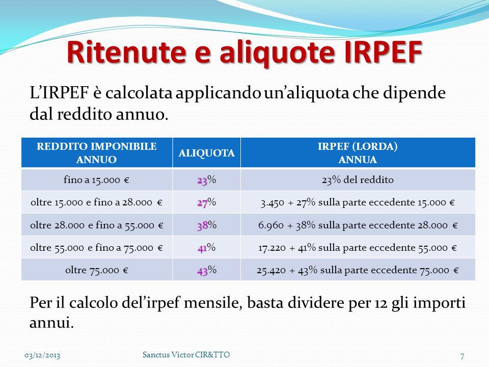 Ritenute e aliquote IRPEF L'IRPEF è calcolata applicando un'aliquota che dipende dal reddito annuo. Per il calcolo del'irpef mensile, basta dividere p