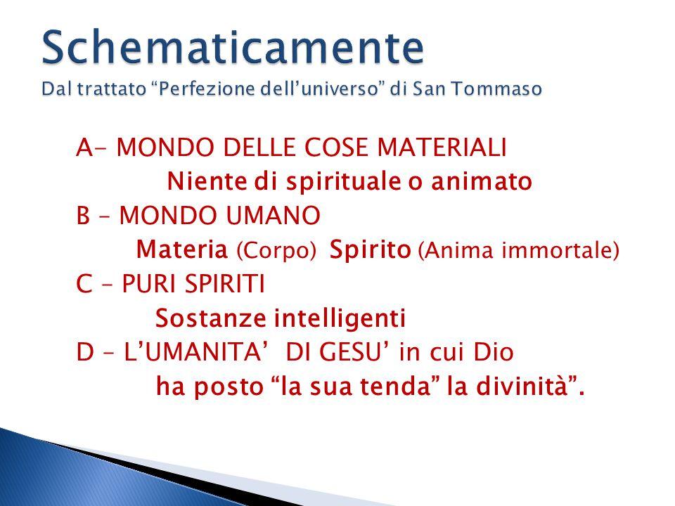 A- MONDO DELLE COSE MATERIALI Niente di spirituale o animato B – MONDO UMANO Materia (Corpo) Spirito (Anima immortale) C – PURI SPIRITI Sostanze intelligenti D – L'UMANITA' DI GESU' in cui Dio ha posto la sua tenda la divinità .
