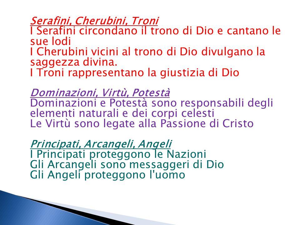 Serafini, Cherubini, Troni I Serafini circondano il trono di Dio e cantano le sue lodi I Cherubini vicini al trono di Dio divulgano la saggezza divina.