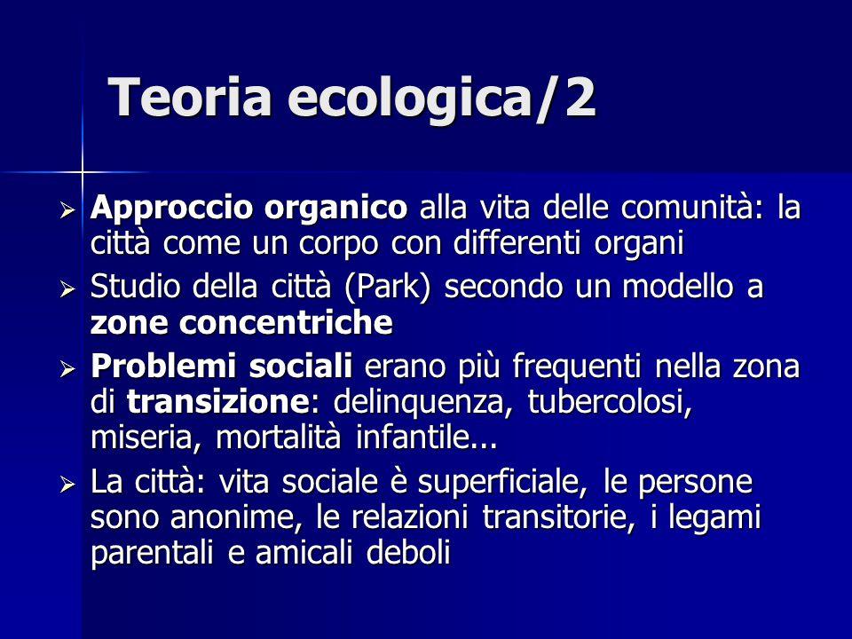 Teoria ecologica/2  Approccio organico alla vita delle comunità: la città come un corpo con differenti organi  Studio della città (Park) secondo un