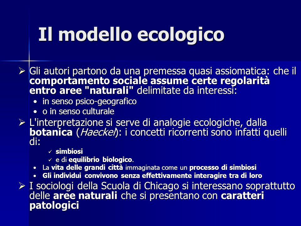 Il modello ecologico  Gli autori partono da una premessa quasi assiomatica: che il comportamento sociale assume certe regolarità entro aree