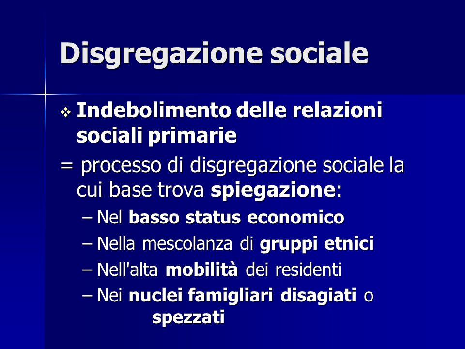 Disgregazione sociale  Indebolimento delle relazioni sociali primarie = processo di disgregazione sociale la cui base trova spiegazione: –Nel basso s