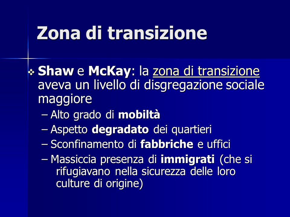 Zona di transizione  Shaw e McKay: la zona di transizione aveva un livello di disgregazione sociale maggiore zona di transizionezona di transizione –